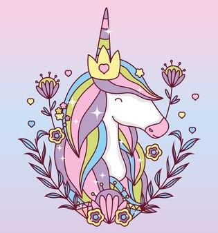 Cartone animato unicorno con disegno ghirlanda di foglie, fantasia magica da favola animale fata selvaggia selvaggia e adorabile