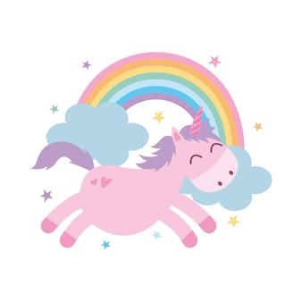 Cartone animato unicorno con arcobaleno tra le stelle. illustrazione vettoriale