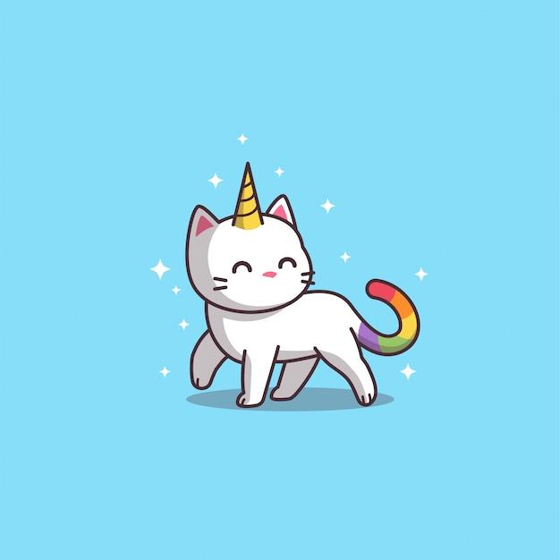 Gatto unicorno sul blu