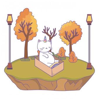 Cartone animato gatto unicorno