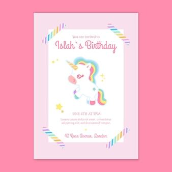 Modello di biglietto d'auguri per bambini unicorno