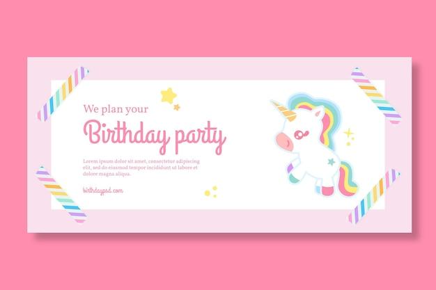 Modello di banner orizzontale di compleanno per bambini unicorno Vettore Premium