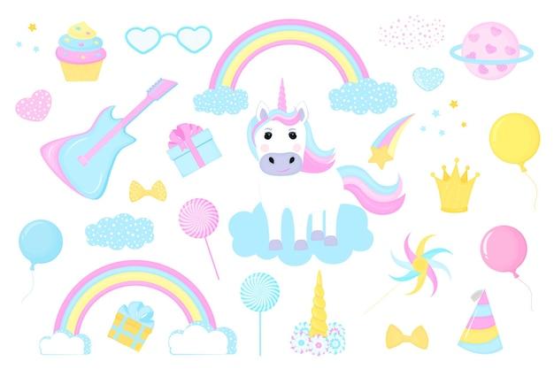 Insieme dell'unicorno e clipart. arcobaleno, corona, nuvola, cometa e regalo, chitarra e palloncino.