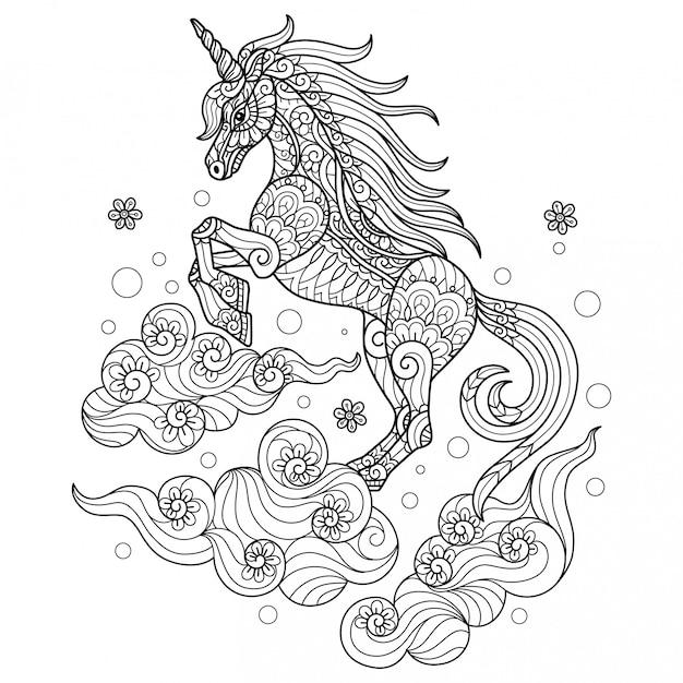 Unicorno sul cloud. illustrazione di schizzo disegnato a mano per libro da colorare per adulti