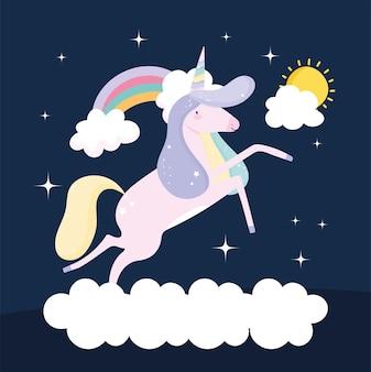 Unicorno su nuvola