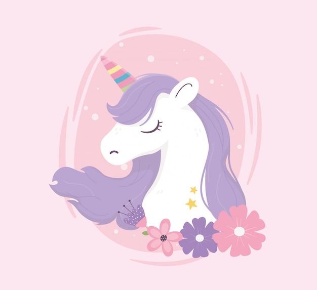 Unicorno colorato corno e fiori fantasia magia sogno carino fumetto rosa sfondo illustrazione