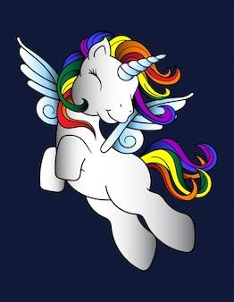 Pegaso colorato unicorno
