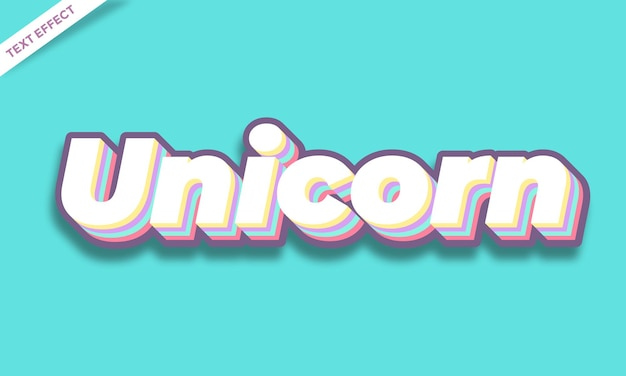 Modello di effetto testo colorato unicorno