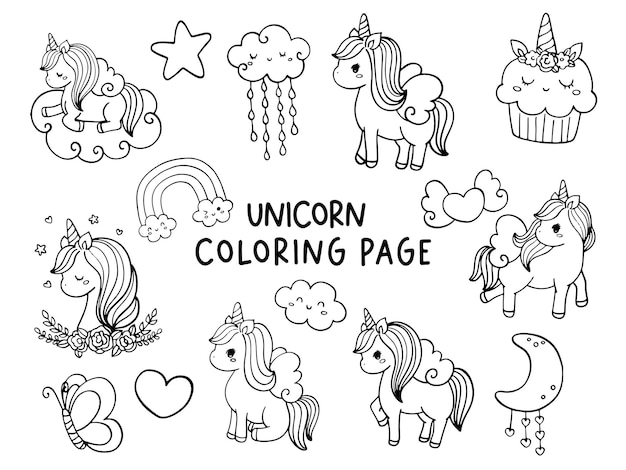 Illustrazione della pagina da colorare di unicorno