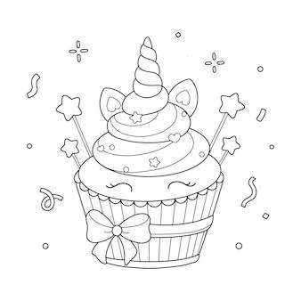 Illustrazione della pagina da colorare di unicorno cupcake