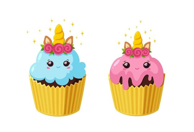 Cupcakes unicorno con glassa brillante torta fata kawaii in bicchiere di carta gustosi dessert con corno e occhi