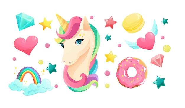 Unicorno simpatico cartone animato in stile piatto con elementi da ragazzina