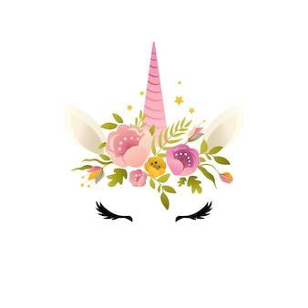 Unicorno carino illustrazione carta e t-shirt design.