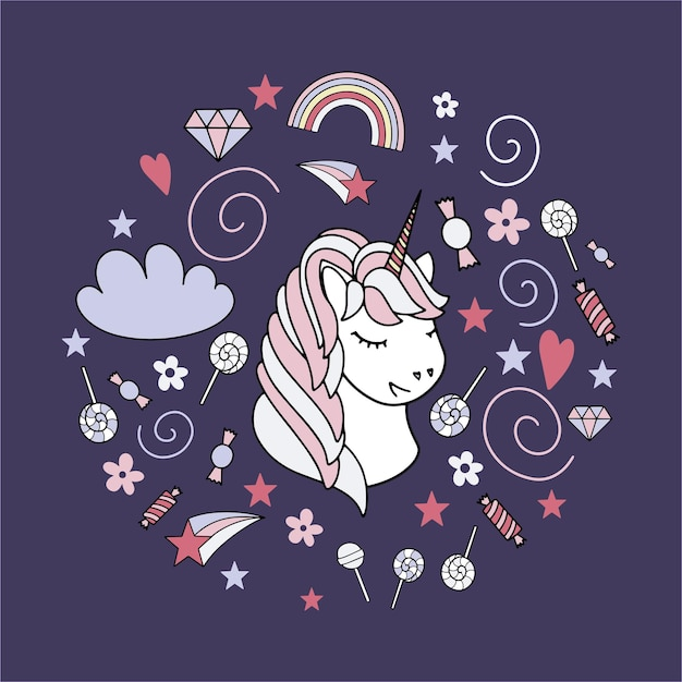 Insieme dell'illustrazione di vettore sveglio dell'unicorno. disegno di carte e magliette.