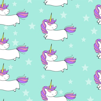 Reticolo senza giunte di unicorno carino vettoriale. disegno di carte e magliette.