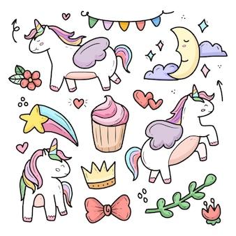 Collezione di doodle di disegno unicorno