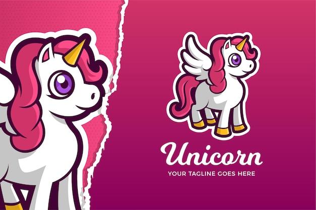 Il modello di logo del gioco di sport elettronici unicorn