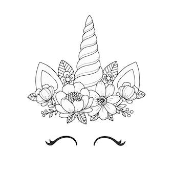 Pagina da colorare di faccia di unicorno con ghirlanda di fiori