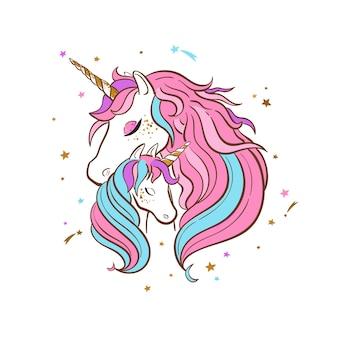 Illustrazione disegnata a mano della famiglia dell'unicorno. madre e bambino unicorni