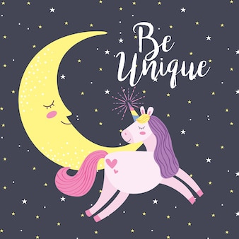 Cartoni animati fantasia unicorno Vettore Premium