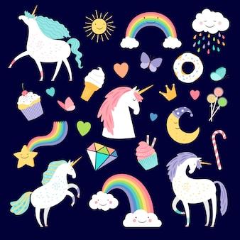Set di elementi di unicorno e fantasia