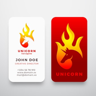 Unicorno in un segno astratto di forma di fiamma, simbolo o logo e modello di biglietto da visita.