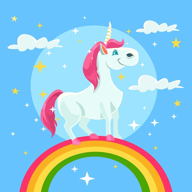 Illustrazione di cartone animato piatto unicorno