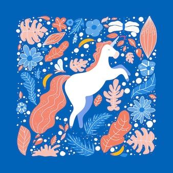 Illustrazione disegnata a mano piatto unicorno.
