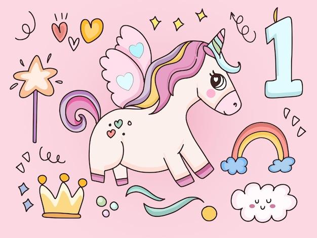 Unicorno e illustrazione di elementi divertenti