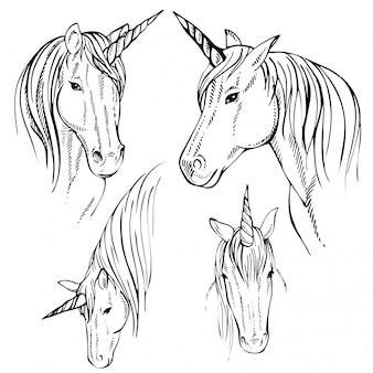 Disegnato a mano unicorno