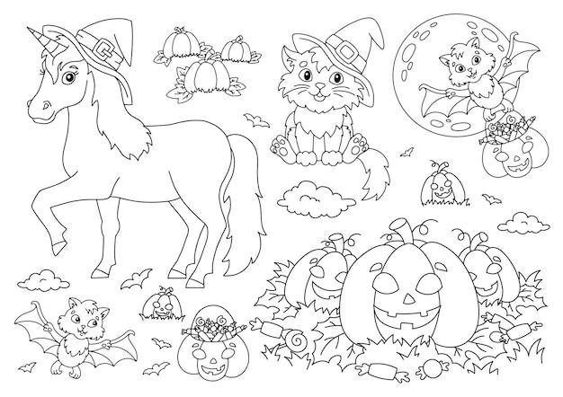 Unicorno in un cappello gatto pipistrello zucca tema halloween pagina del libro da colorare per bambini