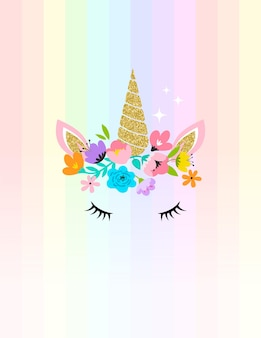 Testa di unicorno con illustrazione di fiori
