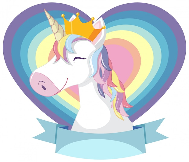 Testa di unicorno con criniera arcobaleno e corno su sfondo bianco