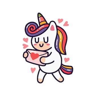 Unicorno che tiene la lettera d'amore doodle