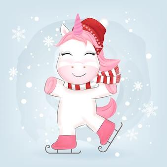 Unicorno sui pattini da ghiaccio in inverno e illustrazione di natale.