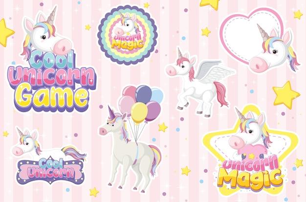Icona di unicorno su sfondo pastello magico Vettore Premium