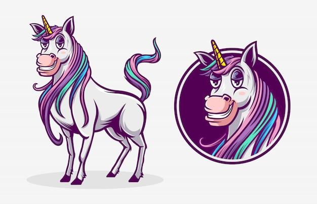 Mascotte dell'illustrazione dell'unicorno