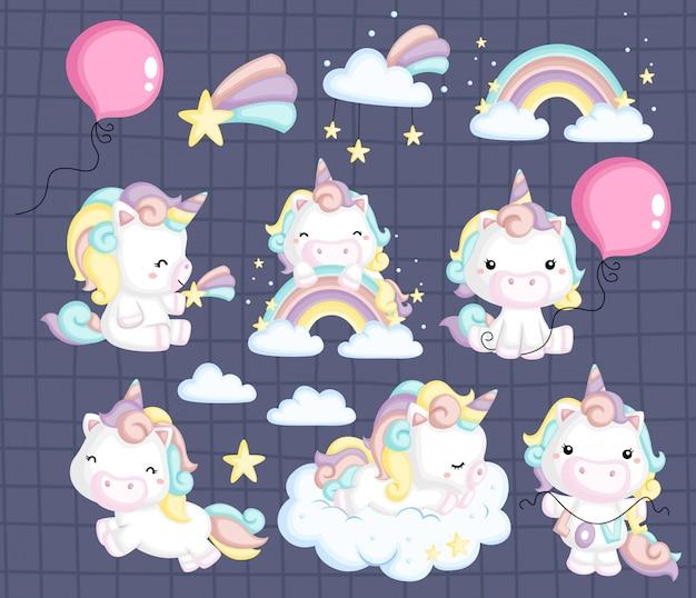Insieme di immagini di unicorno