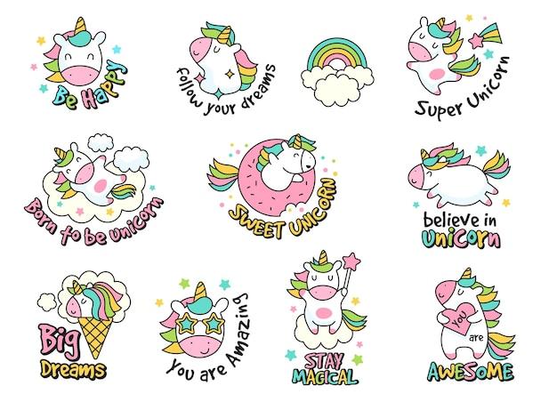 Collezione di etichette di unicorno. adesivi e distintivi in stile retrò con set di personaggi divertenti fantasy.