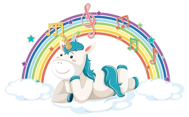 Unicorno sdraiato su una nuvola con simbolo arcobaleno e melodia