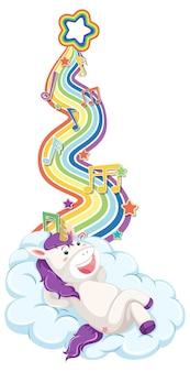 Unicorno sdraiato sulla nuvola con arcobaleno su sfondo bianco