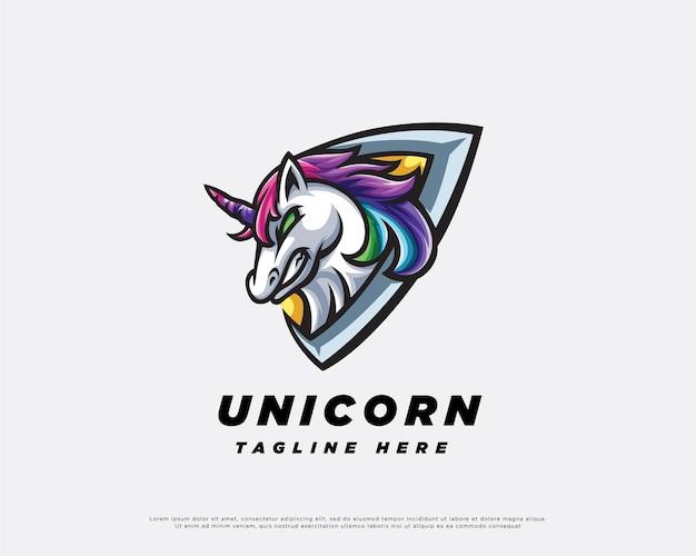 Disegno della mascotte del logo dell'unicorno