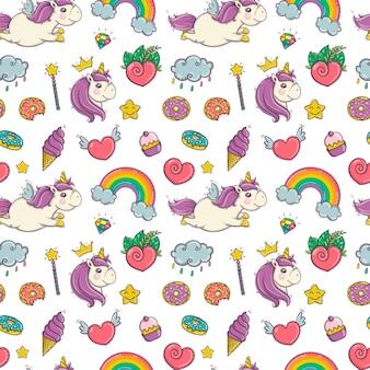 Modello senza cuciture di unicorno e arcobaleno magico isolato su sfondo bianco eps10