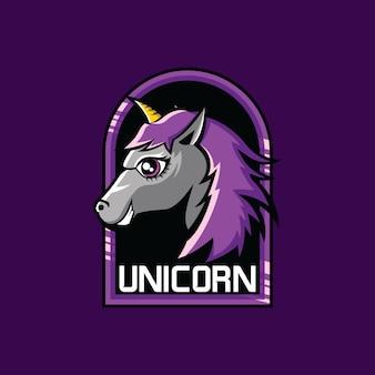 Squadra di gioco di esports mascotte unicorno