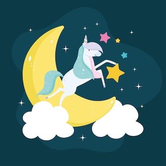 Cartone animato unicorno sulla luna