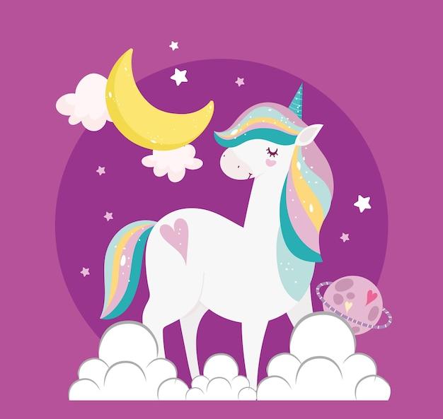 Unicorno luna pianeta nuvole fantasia