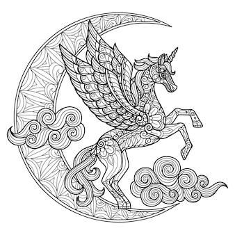 Unicorno e chiaro di luna. illustrazione di schizzo disegnato a mano per libro da colorare per adulti