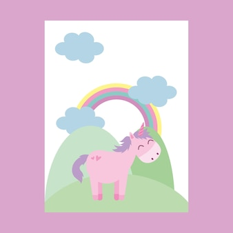 Unicorno nel cartone animato di montagna. illustrazione vettoriale