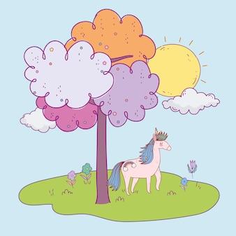 Paesaggio della natura dell'unicorno