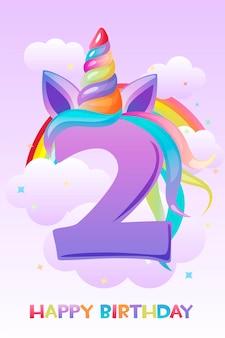 Unicorno numero due anni, biglietto di auguri di buon compleanno